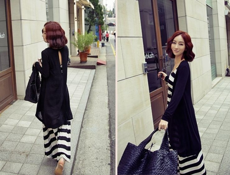Women's Striped Maxi Dress and Long Coat Two-piece Set