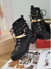 Fashion New Women Round Toe Lace-up Short Boots