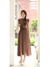 Summer Fashion Stand Collar Chiffon Black Pleated Maxi Dress