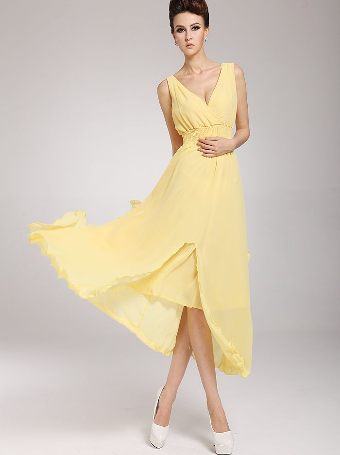 Yellow Summer Maxi Chiffon Dresses with Sleeves