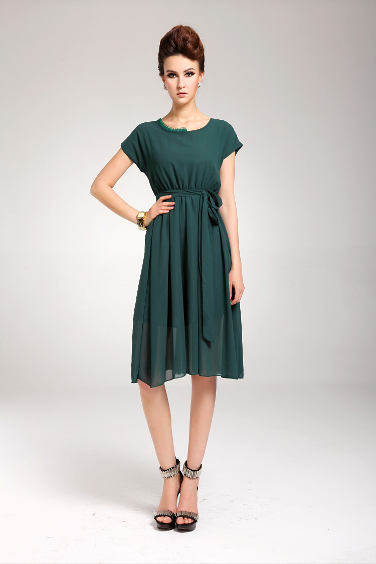 Summer Elegant Solid Color Chiffon Short Sleeve Green Maxi Dress