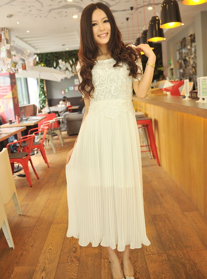 e2b51a20da4 Wholesale Fresh Summer Short Sleeve Lace Chiffon White Maxi Dress  HR060301WI
