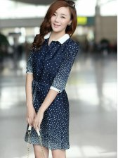 Newest Summer Bow Polka Dots Single-Breasted Turn-Down Collar Dress