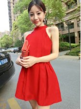 Seductive Red Off Shoulder Stand Collar Sleeveless Dress