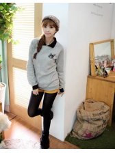 Preppy Style Cat Fake Two Piece Long Sleeve Lapel Hoodies