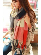 Exceptional Temperament Tassel Color Collision long Checked Scarf