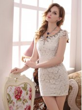Newest Modern Style Lace Embossing Short Sleeve Pure Color Cocktail Dress