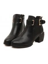 Trendy Lady Metal Buckle Back Zipper Chunky High Heel Boots