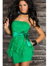 Fashion Lady Pure Color Lace Patched Strapless Dresses