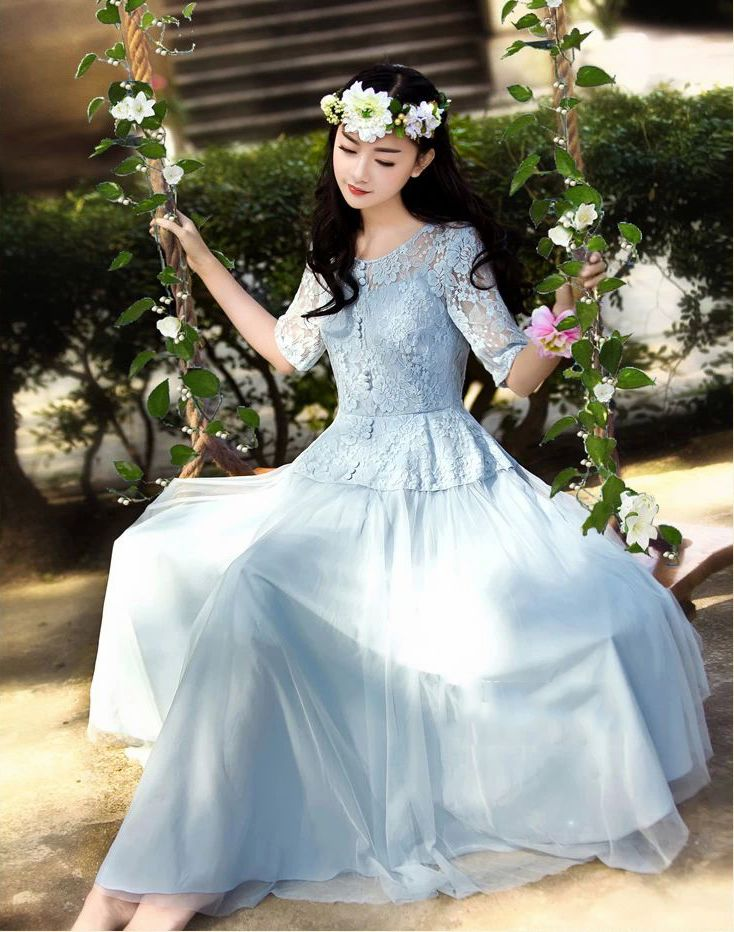 Junoesque Fairy Style Lace Floral Slim Waist Ball Gown Pleated Short ...