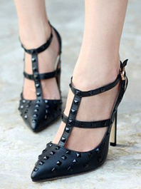 Fashion Latest Popular Fashion Sharp Toe Rivets Color Black Hasp T-belt Thin Heels