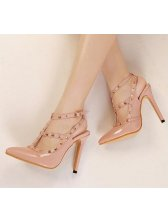 Best Fashion Sweet Style Rivets Decorated Velcro One-buckle Thin Heels Sharp Toe Sandals