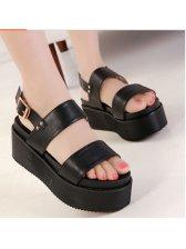 f61c7470d8a1 European New Item Hot Popular Color Black Buckle-loop Peep-toe Wedge  Platform Sandals