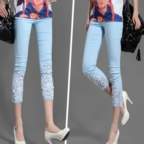 d12b2a65af3a4 2014 New Fashion Item Plus Size Clothing For Women Clothes For Fat People  Lace Hook Flower Ninth Pants