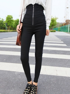 2014 Korea New Coming Pencil Pant Fitted Cozy Black High Waist Zipper Women Casual Wear Ninth Pant For Sale