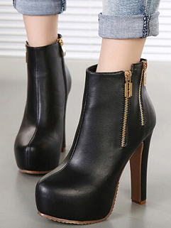 2014 Korean Sweet Style Boots Pure Color Side Zipper Round Toe High Chunky Heel Black PU Boots 35-39
