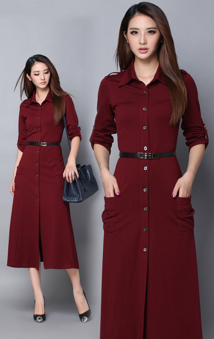 Hot Selling Japanese Dress Solid Color Long Sleeve Single-breasted Dress  Lapel Street Style Dress dc0809e83