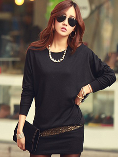 2014 Korean Casual Dress Cozy Pure Color Long Bat Wing Sleeve Sequined Decoration Round Collar Short 2 Colors Dress