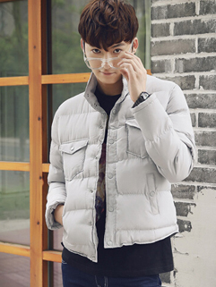 2014 Korean Style Men Coats Pure Color Long Sleeve Stand Collar Cardigan Light Gray Coats M-XXL