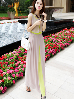 Bohemian Latest Design Cozy Solid Color Sleeveless Dress Slim Wear Split Joint Lining Size S-L High Class Maxi Dress