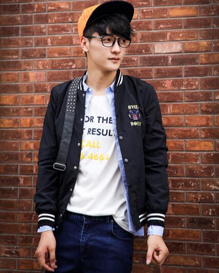 Korean Style Baseball Collar Tiger Head Embroidery Mens Jacket