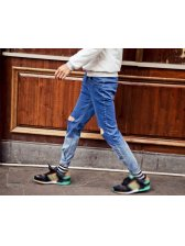 2015 Spring Masculine Fashion Holes Skinny Jeans Low Waist Gradient Color Tapered Jeans For Men