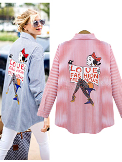 Wholesale Designer Blouse For Women Cartoon Doll Collar Striped Blouse