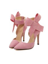 Sweet Bowknot Thin High Heel Pink Pumps Ponied Toe Wholesale Pumps