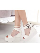 e2a438be1383 Solid Color Peep Toe See-through Gauze Matching White Wedges