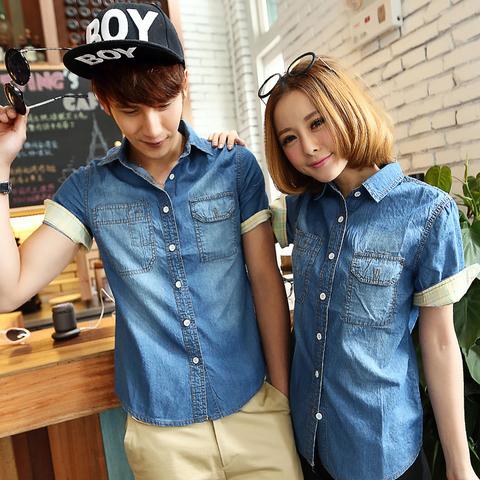 e00de28b500 Street Style Couple Tops Korean Style Fashion Solid Color Young Denim Shirt