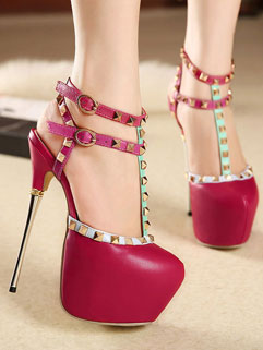 Euro Style Rivets T-strap Round Toe Super High Heels Pumps