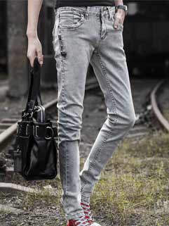 Latest Autumn Design Men Jeans Korean Style Slim Straight Water Scrubbing