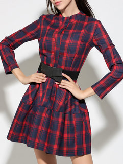 Korean Fall Women Long Sleeve Plaid Round Neck Pleated Dresses
