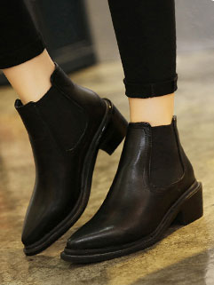 Best Selling High Quality PU Pointed-toe Chunky Heel Women Boot