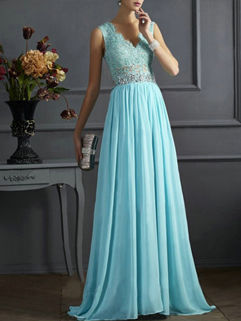Gorgeous Style Solid Sequined Lace Split Chiffon Maxi Dress