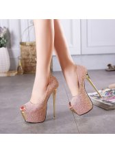 Latest Design Women Super High Sequined Pumps
