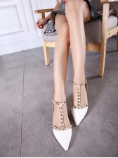 Elegant Fashion Rivet Patchwork Pionted Flats
