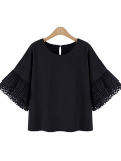 Vintage Style Hollow Out Tassel Chiffon Loose Blouse