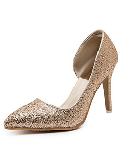 Fashionable Elegant Sequined Pointed Toe Women Pump