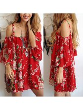 Cheap Outlet Backless Floral Print Mini Spaghetti Dress