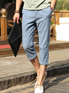 Japan Fashion Solid Pocket Zipper Casual Cropped Pants