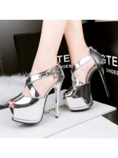 Graceful Hollow Out Solid Superhigh Metal Pumps