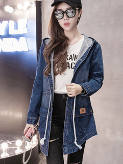 Casual Fashion Hooded Collar Fitted Women Long Denim Jacket