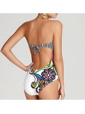 Euro Style Floral Printing Jumpsuit Swimsuit