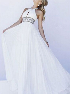Euro Fashion Halter Embroidery Evening Long Dress