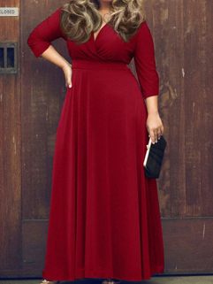 Euro Women V Neck Plus Size Long Dress
