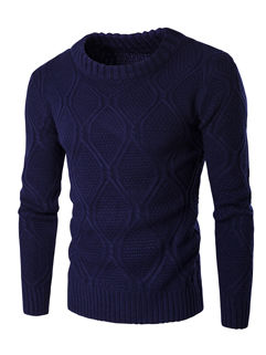 Wholesale Woven Pattern O Neck Pullover Sweater