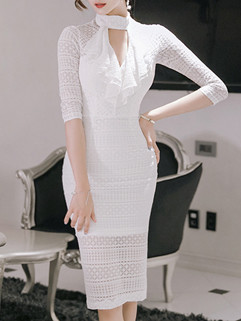 New Fashion Hollow Out Sexy White Dress