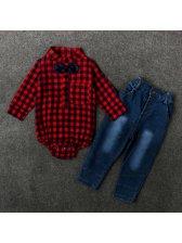 Plaid Shirts With Denim Jeans Kids Suits