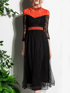 New Lace Patchwork Stand Collar Boutique Dresses